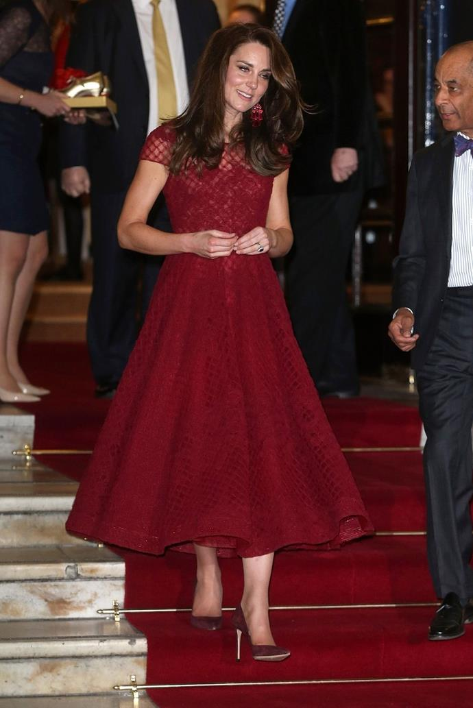 **$2,065** On April 4, Kate attended the 42nd Street premiere in a Marchesa dress and Kate Spade earrings.