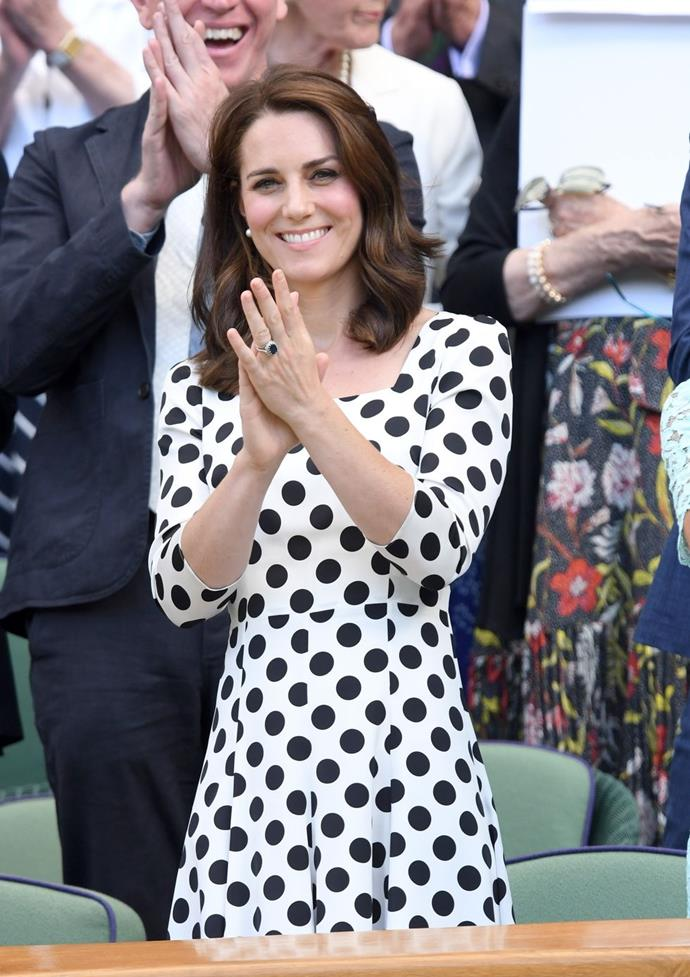 **$2,119** On July 3, Kate attended Wimbledon in a Dolce & Gabbana dress and Office heels.
