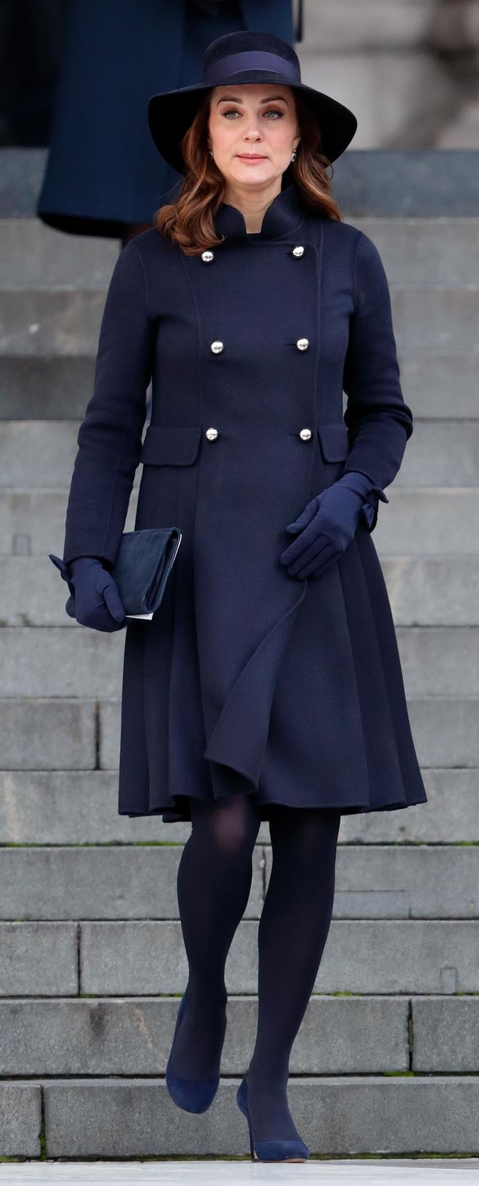 **$2,154** On December 14, Kate attended the Grenfell Memorial in a Carolina Herrera Coat and Lock & Co hat.