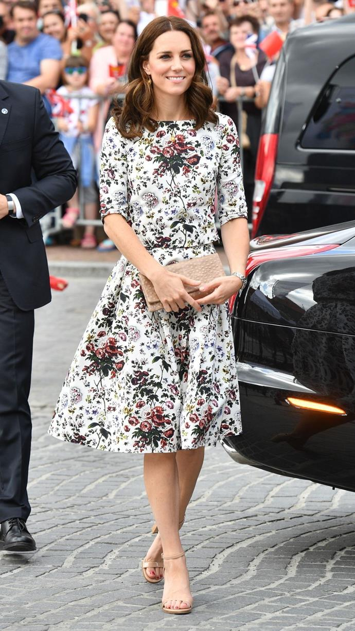 **$2,402** On July 18, Kate visited Warsaw's Shakespeare Theatre wearing an Erdem skirt, Erdem top, and Stuart Weitzman leather sandals.