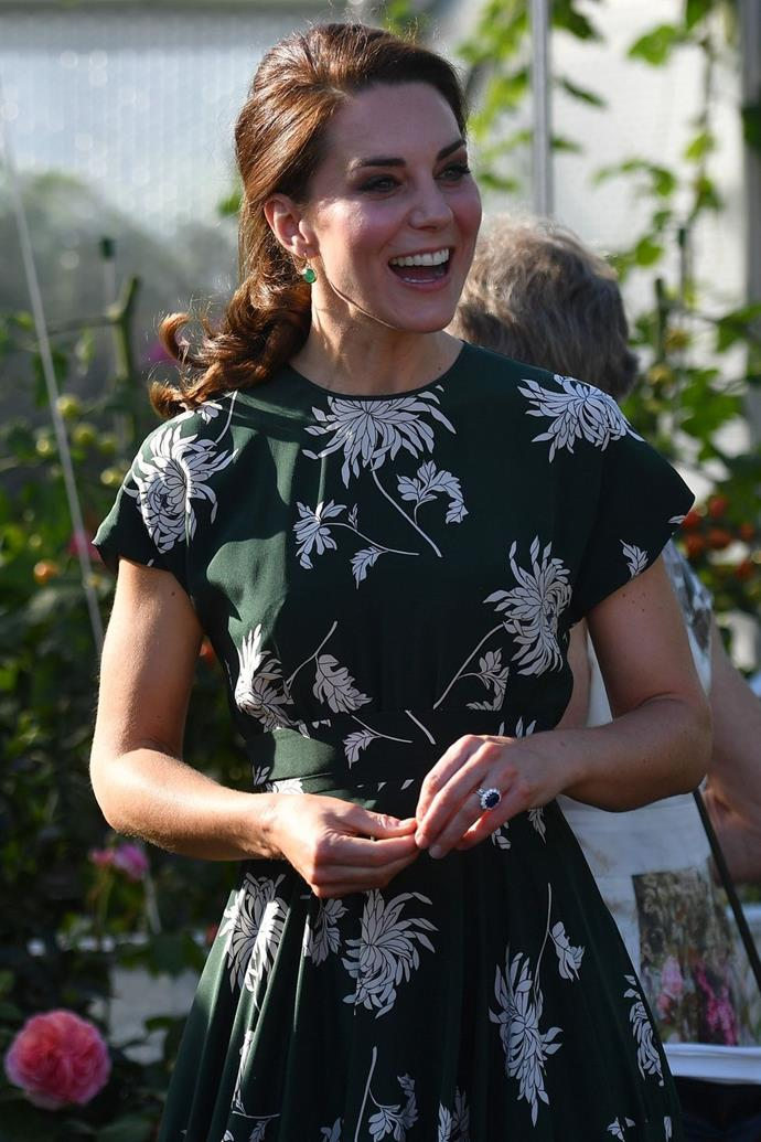 **$2,595** On May 22, Kate attended the Chelsea Flower Show in a green floral print Rochas dress.