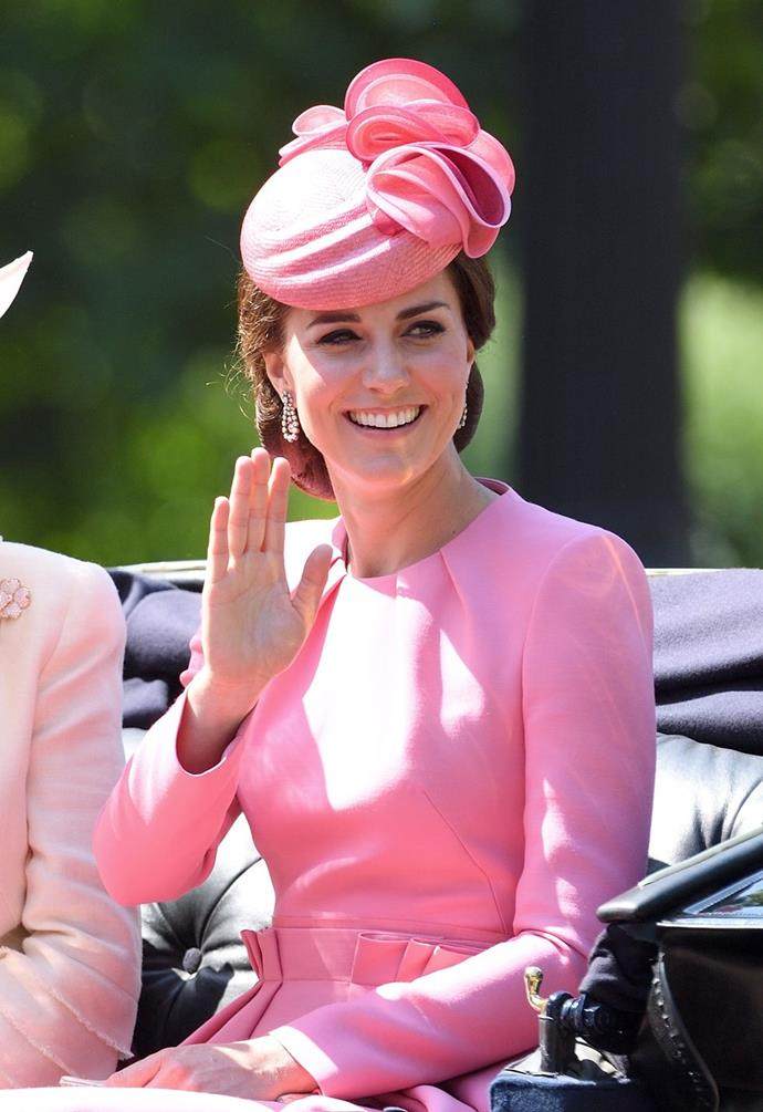 **$2,767** On June 17, Kate attended the Queen's birthday parade in an Alexander McQueen dress and Jane Taylor hat.