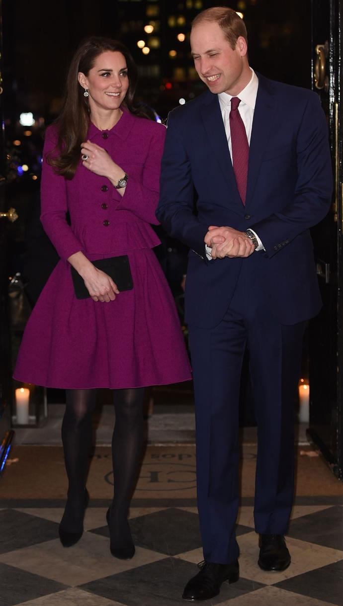 **$3,052** On February 6, Kate attended the Guild of Health Writers Conference to discuss mental health issues with journalists. Kate wore a gorgeous purple Oscar de la Renta suit.