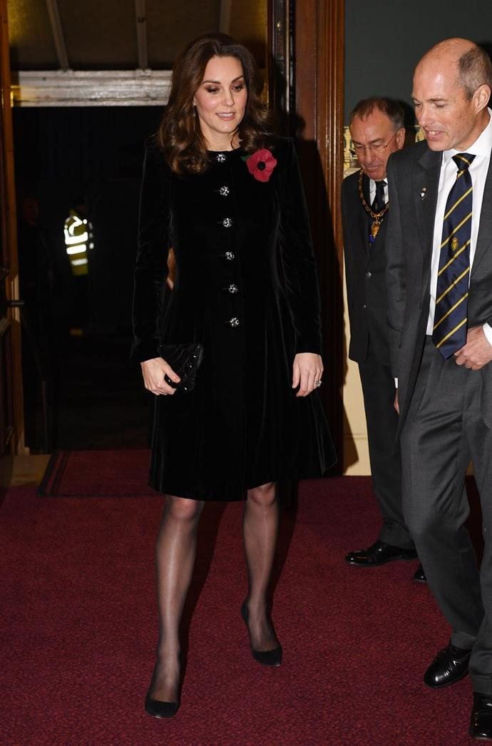 **$3,459** On November 11, Kate attended the Festival of Remembrance in a Catherine Walker coat dress.