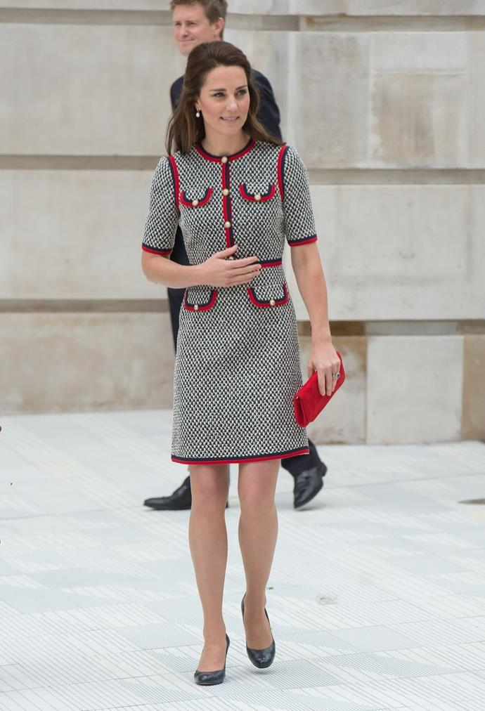 **$3,702** On June 29, Kate arrived at London's V&A in a Gucci dress and Emmy London bag.