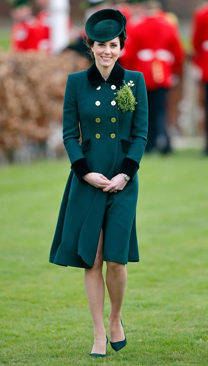 **$4,397** On March 17, Kate stepped out for St. Patrick's Day in a Catherine Walker coat, Emmy London shoes, and a Etui clutch.