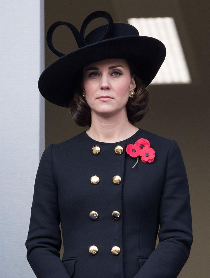 **$5,277** On November 12, Kate celebrated Remembrance Sunday in a Dolce & Gabbana coat and carrying an Emmy London clutch.
