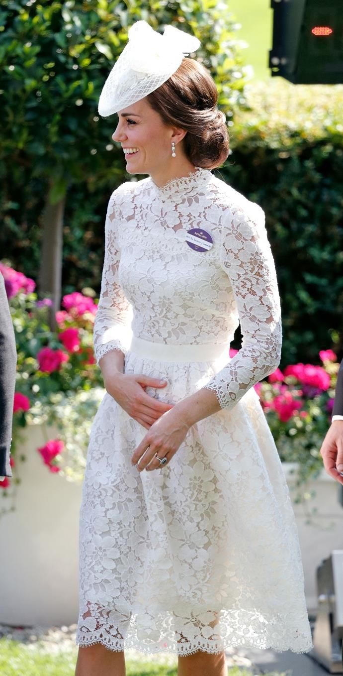 **$5,636** On June 20, she joined the Queen and Prince William at Royal Ascot in an Alexander McQueen dress, Loeffler Randall clutch, and a white hat.