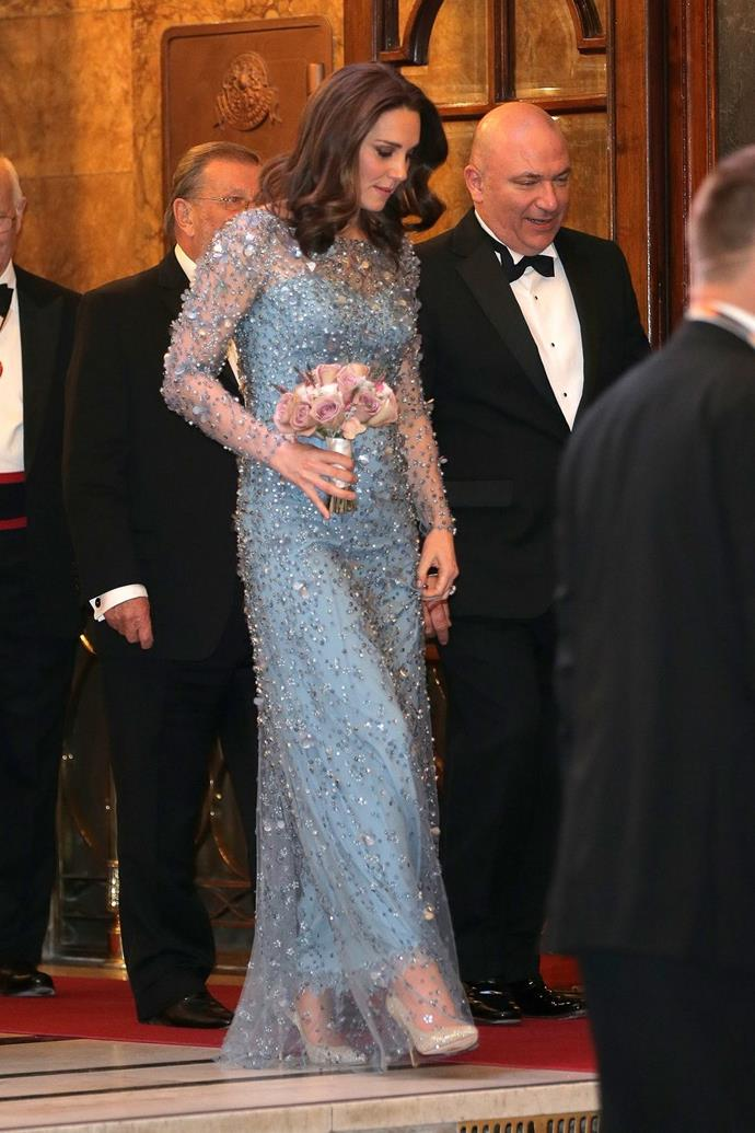 **$6,057** On November 24, Kate attended the Royal Variety Performance in a Jenny Packham dress.