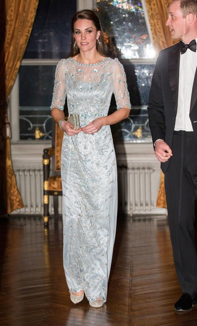 **$2,204** On March 17, Kate attended a Gala Dinner in Paris wearing a Jenny Packham dress.