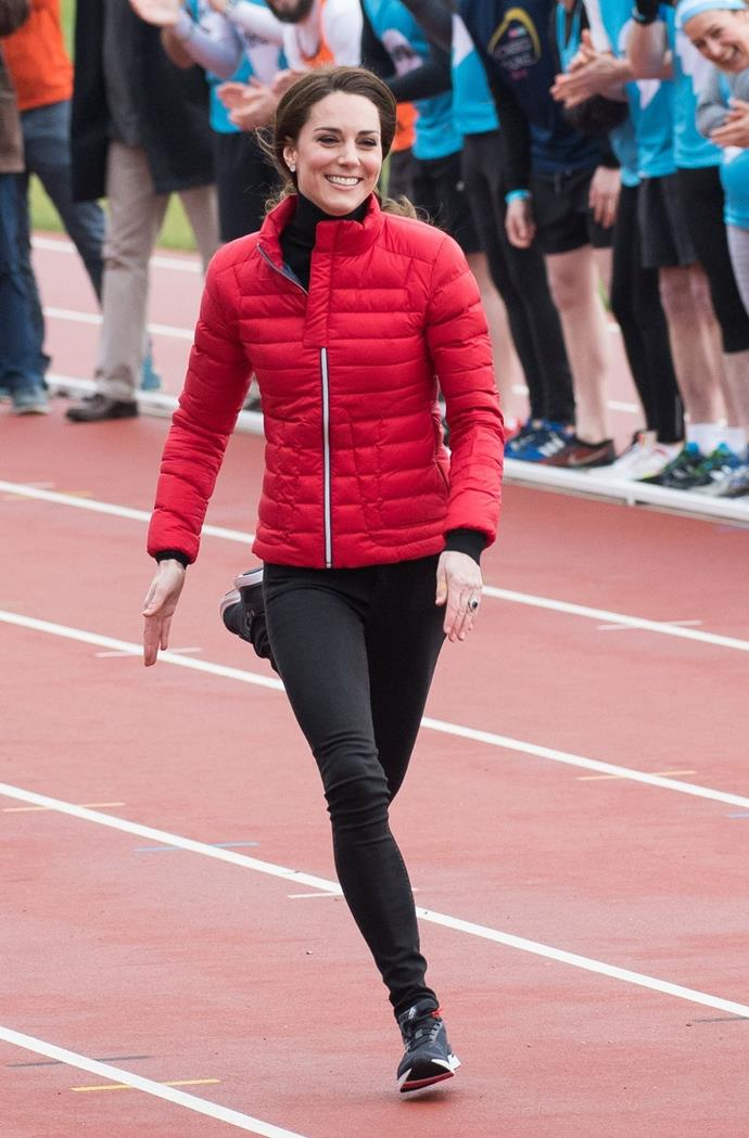 **$7,658** On February 5, Kate stepped out for London Marathon Training in a Perfect moment jacket, Zara jeggings, New Balance trainers, an Iris & Ink turtleneck and a pair of Asprey 167 earrings.
