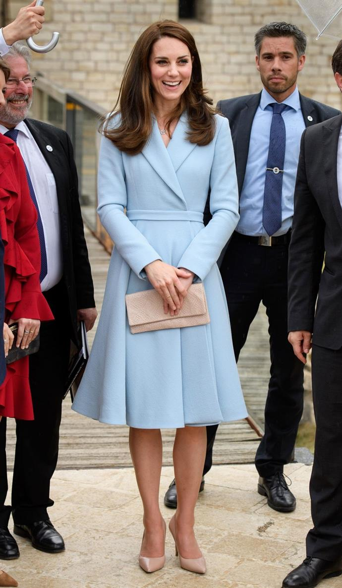 **$7,788** On May 11, Kate visited Luxembourg and wore an Emilia Wickstead coat dress and Kiki McDonough earrings.