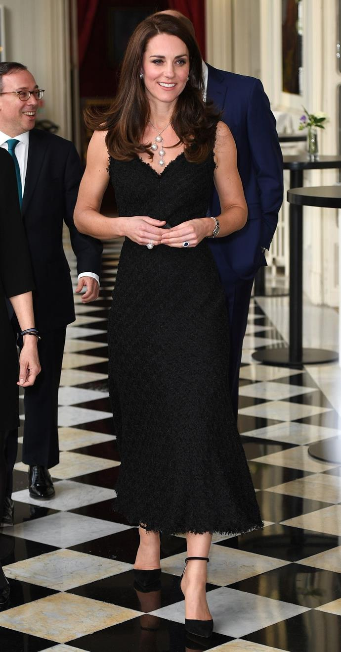 **$8,033** On March 17, attended a reception in Paris wearing an Alexander McQueen bespoke gown and Gianvito Rossi shoes.
