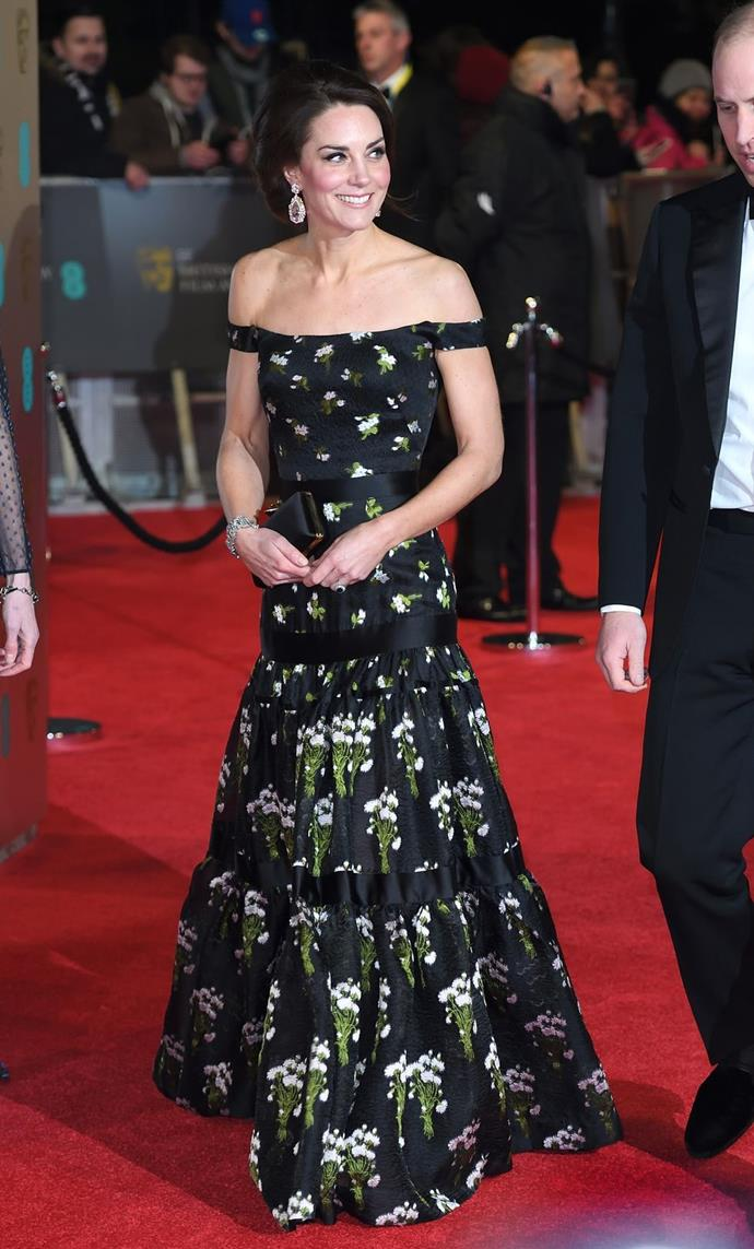 **$13,715** On February 7, Kate attended the BAFTA Awards in an Alexander McQueen dress and carrying an Alexander McQueen clutch.