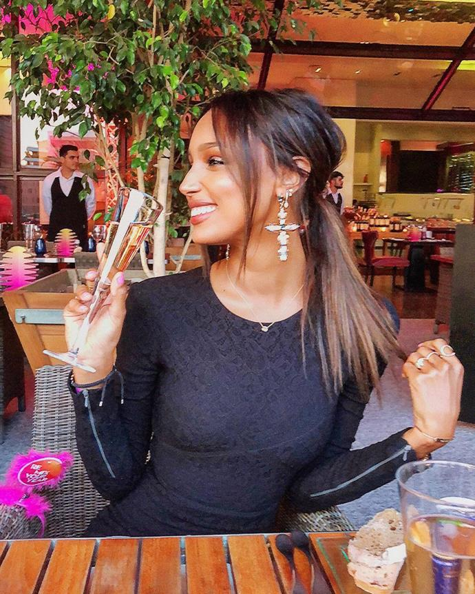 "Jasmine Tookes<br><br>  Instagram: [@jastookes](https://www.instagram.com/jastookes/ target=""_blank"" rel=""nofollow"")"