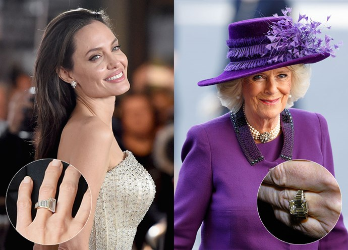 ***Angelina Jolie and Camilla, Duchess of Cornwall***<br><br> Now this is an unlikely match-up! Angelina Jolie and Camilla, Duchess of Cornwall, actually have very similar taste in rings. They both sported this table-cut diamond rings, surrounded by thin emerald-cut diamonds on either side.