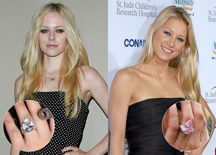 ***Avril Lavigne and Anna Kournikova***<br><br> Although Anna's massive ring is in a different pink colour, both her and Avril's rings sport the same pear-cut shape, an are both flanked by sizeable diamond baguettes.