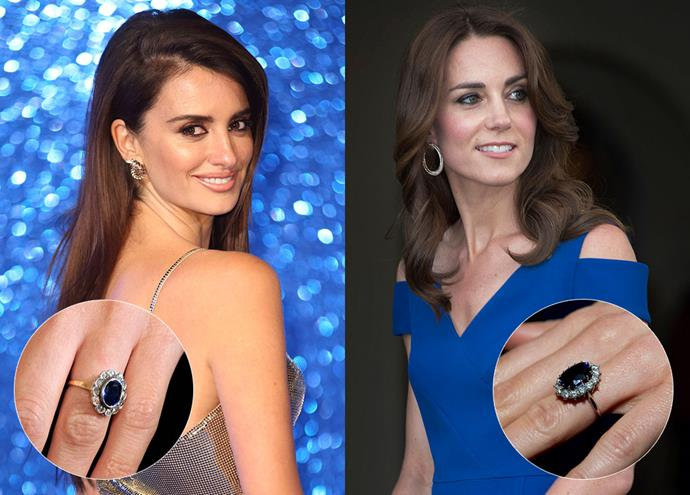 ***Penélope Cruz and Catherine, Duchess of Cambridge***<br><br> Although Penélope's ring is slightly more rustic than the Duchess' polished Gerrard's ring, they both feature the same sapphire oval and diamond halo style, and are both set on yellow gold.