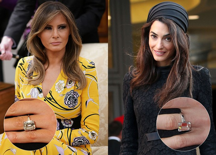 ***Melania Trump and Amal Clooney***<br><br> Both Melania and Amal wear an emerald-cut diamond set on a platinum band flanked by baguettes. However Melania's tips the scales a bit more at 12-carats, over Amal's 7-carat beauty.