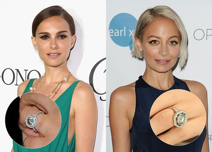 ***Natalie Portman and Nicole Richie***<br><br> Natalie and Nicole were both gifted vintage-inspired halo rings. Natalie's Jamie Wolf ring features a round halo  and a pave band, whilst Nicole's Neil Lane piece has a more hexagonal halo and only a partial-pave band.