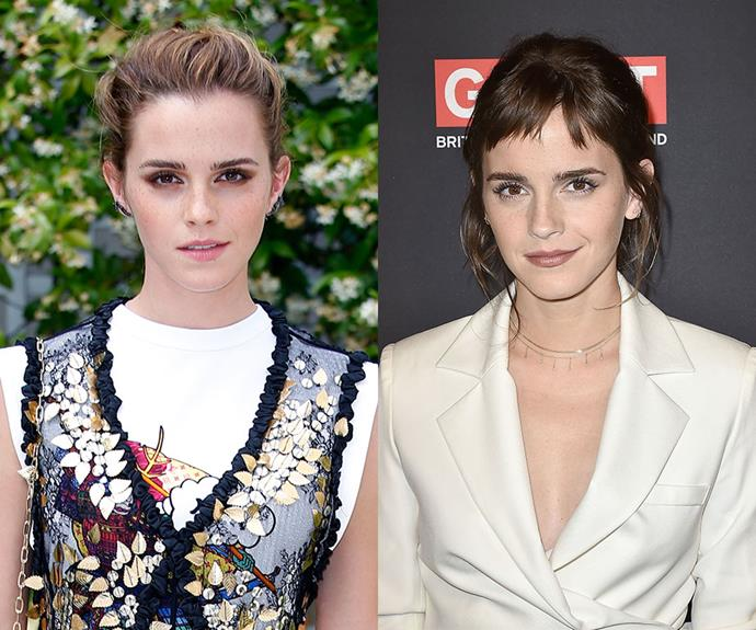 ***Emma Watson***<br> During her latest appearance, Emma Watson showed off a new set of bold bangs and a darker shade of brunette.