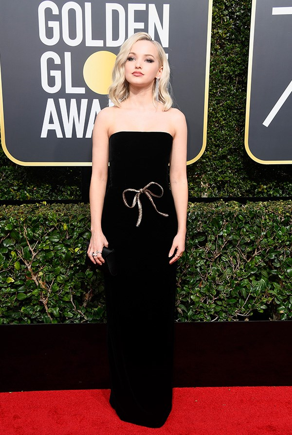 Dove Cameron in Monique Lhuillier.