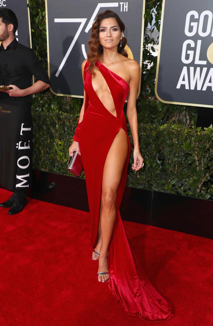 Blanca Blanco wearing red at the 2018 Golden Globe Awards.