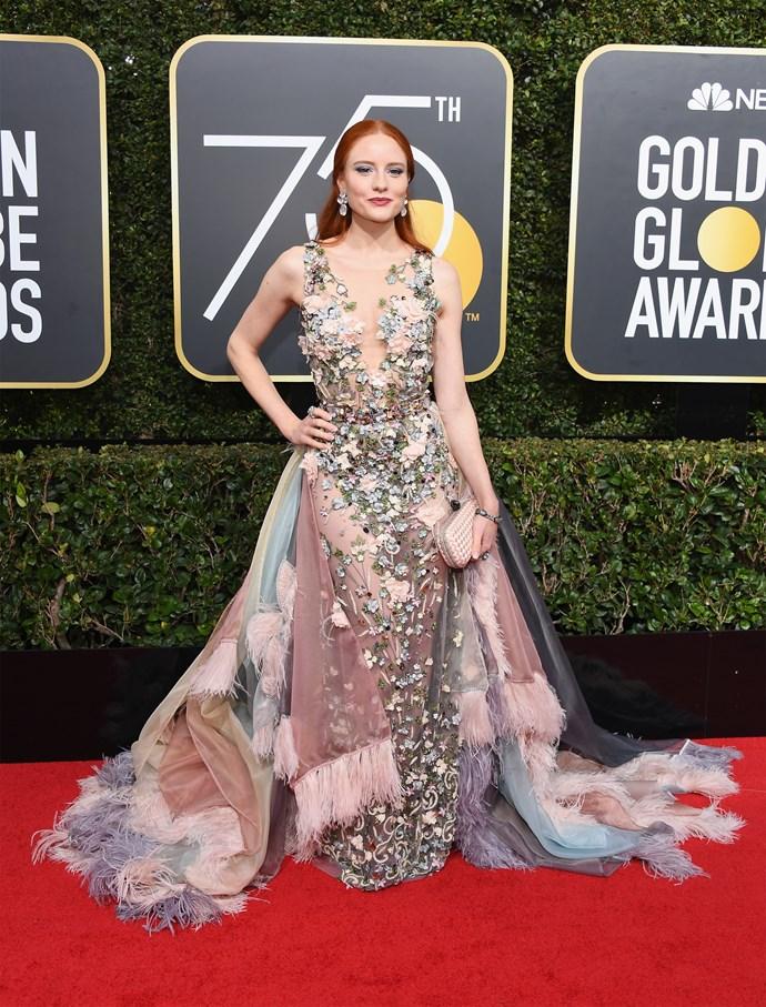 Barbara Meier at the 2018 Golden Globes.