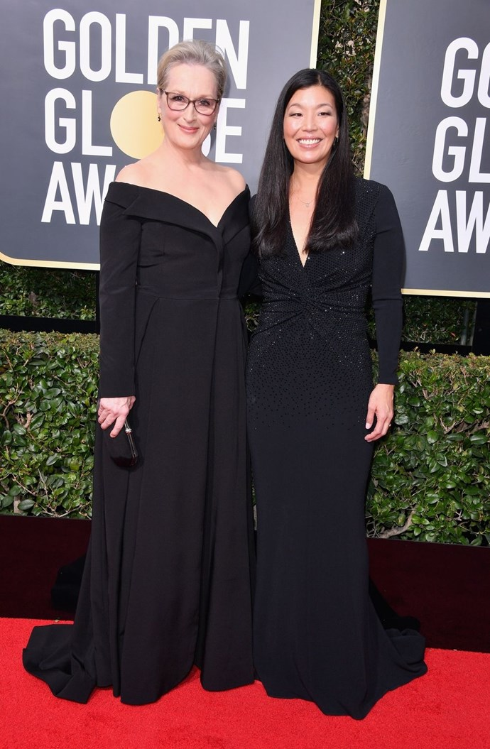 """**Ai-Jen Poo and Meryl Streep** <br><br> Meryl Streep walked the red carpet with Ai-Jen Poo, the director of the National Domestic Workers Alliance, which works for """"the respect, recognition, and inclusion in labour protections for domestic workers."""" <br><br> On the red carpet, Streep said, """"I think that people are aware, now, of a power imbalance. And it's something that leads to abuse. It's led to abuse in our own industry, and it's led to abuse across the domestic workers' field of work, it's in the military, it's in congress, it's everywhere. And we want to fix that and we feel sort of emboldened in this particular moment to stand together in a thick black line dividing then from now."""" <br><br> Poo said, """"I hope people see the momentum and the energy and the fact that we're uniting across all industries, and all communities, standing together, saying, we all deserve workplaces where we are safe and our work is valued and we can live and work with dignity. That's the future. We have momentum, and we want to say to everyone that they should join us. This is a movement where there is space for everyone and there is a role for everyone."""" <br><br> Donate to the National Domestic Workers Alliance and find out more about it [here](https://www.domesticworkers.org/