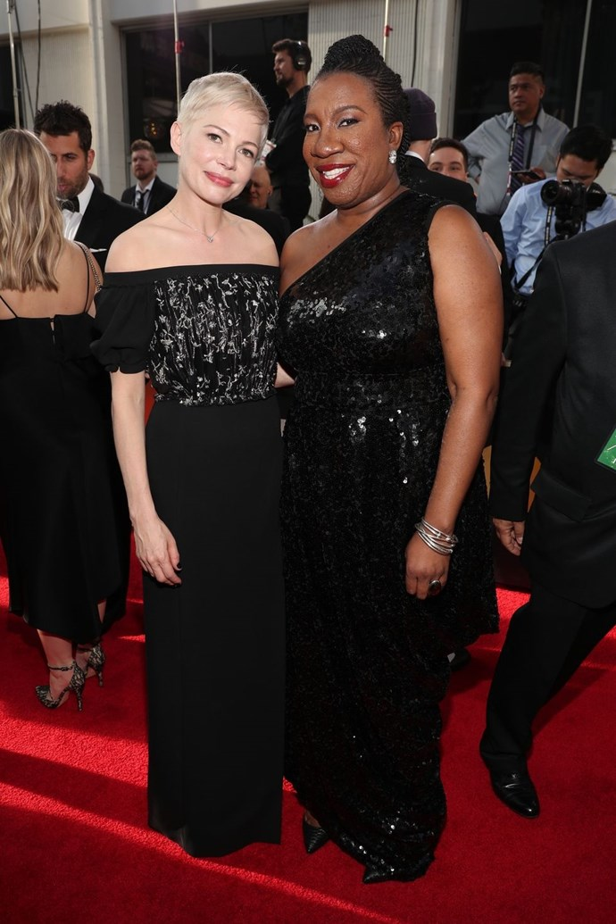 """**Tarana Burke and Michelle Williams** <br><br> Michelle Williams and Tarana Burke of the Me Too movement accompanied each other on the carpet. Burke founded the movement to """"help survivors of sexual violence, particularly young women of colour from low wealth communities, find pathways to healing."""" <br><br> Williams said, """"We are here because Tarana started a movement. She planted a seed years ago, and it has grown and caught fire."""" <br><br> """"It's deeply humbling,"""" said Burke. """"This is something I started out of necessity, something my community needed it has grown over the years. Never could envision it growing like this. This moment is so powerful because we're seeing a ...collaboration between two worlds that people don't usually put together and most likely would have us pitted against each other. So it's really powerful to be on the red carpet tonight for people like Michele to be selfless enough to give up their time so we can talk about our causes."""" <br><br> Donate to the Me Too Movement and find more about it [here](https://metoomvmt.org/