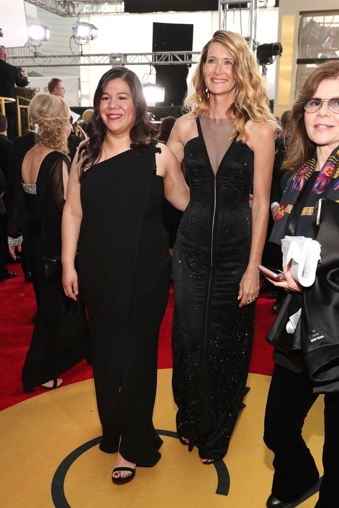 """**Monica Ramirez and Laura Dern** <br><br> Monica Ramirez, Board President of Alianza Nacional de Campesinas, and Laura Dern walked the red carpet together. <br><br> Ramirez wrote an open letter that appeared in *Time*, """"Farmworker women pick, pack and plant the food that we eat and have a long history of, combating work place sexual violence. when we learned what was hatch penning in Hollywood, our members felt strongly that the wanted to send a message to women in this industry and all people experiencing sexual violence in the work place that they're not alone, that we stand with them, that we lend them our power and our strength as they move through this difficult time. And part of our work as an organisation is to fight for gender equality along all lines. So we fight for equal pay, we fight against sexual harassment, we fight for equity. So every person's voice will be valued—everyone will have the opportunity to reach their full potential."""" <br><br> Donate to the Alianza Nacional de Campesinas and find out more about it [here](https://www.alianzanacionaldecampesinas.org/