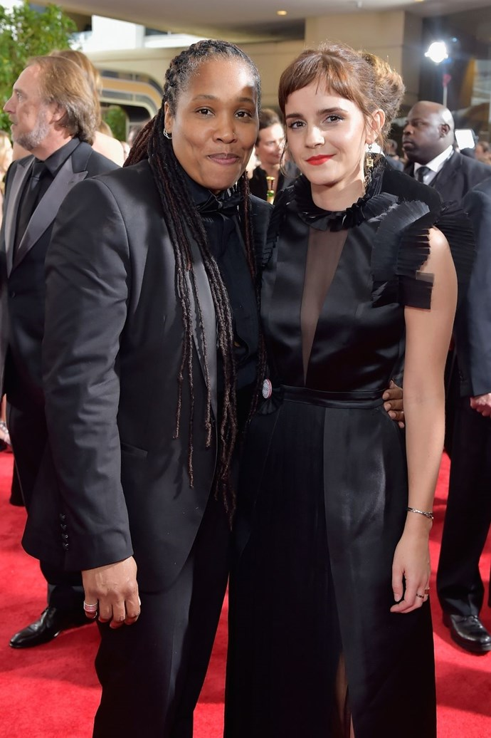 """**Marai Larasi and Emma Watson** <br><br> According to Emma Watson, she and Marai Larasi, director of Imkaan, have been collaborating over the past year—a partnership they took to the red carpet. <br><br> Imkaan is a """"women's organisation dedicated to addressing violence against Black and 'Minority Ethnic' (BME) women and girls."""" And that's what Larasi focused on with her Globes moment: """"There is something about women in Hollywood speaking out. You know, there is a wall of silence around violence against women and girls.... and every time somebody speaks out, it just creates a bit of a crack in that wall. We don't want hierarchy, saying women of Hollywood are more important than other women. But we're saying women in Hollywood have an opportunity to amplify the issues and shine a light on things—and actually, that's incredibly important. So it's a special moment in time. It's not the beginning of a struggle or the end of the struggle. But it is a critical moment. This is a fantastic platform, and we are trying to use it in the best way we can."""" <br><br> Donate to Imkaan and find out more about it [here](https://www.imkaan.org.uk/