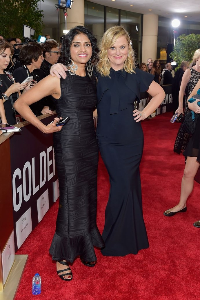 """**Saru Jayaraman and Amy Poehler** <br><br> Saru Jayaraman, co-founder and co-director of the Restaurant Opportunities Centers United, joined Amy Poehler not only on the red carpet but also during Poehler's exchange with host Seth Meyers. ROC United's mission is """"to improve wages and working conditions for the nation's restaurant workforce."""" <br><br> Donate to ROC United and find out more about it [here](http://rocunited.org/