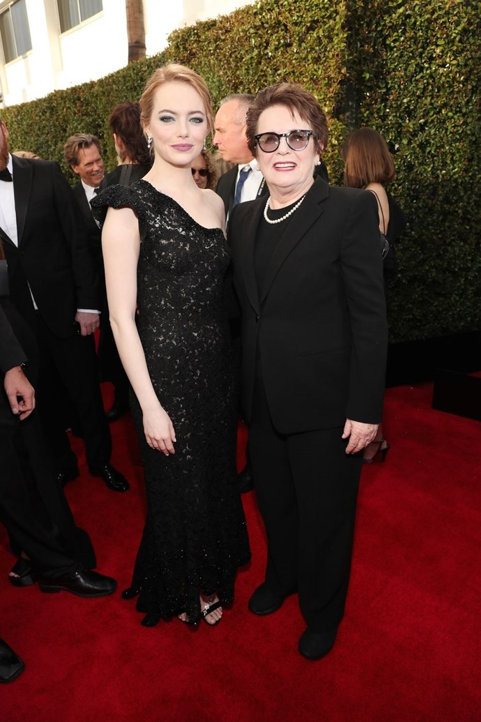 """**Emma Stone and Billie Jean King** <br><br> Emma Stone played the tennis legend Billie Jean King in Battle of the Sexes, and they reunited on the Golden Globes red carpet. King's famous match with Bobby Riggs wasn't her only push for female tennis players to be taken seriously; she was also instrumental in achieving equal prize money for male and female players in the U.S. Open. King founded the Women's Sports Foundation, which """"is dedicated to creating leaders by ensuring all girls access to sports."""" <br><br> Donate to the Women's Sports Foundation and find out more about it [here](https://www.womenssportsfoundation.org/ 