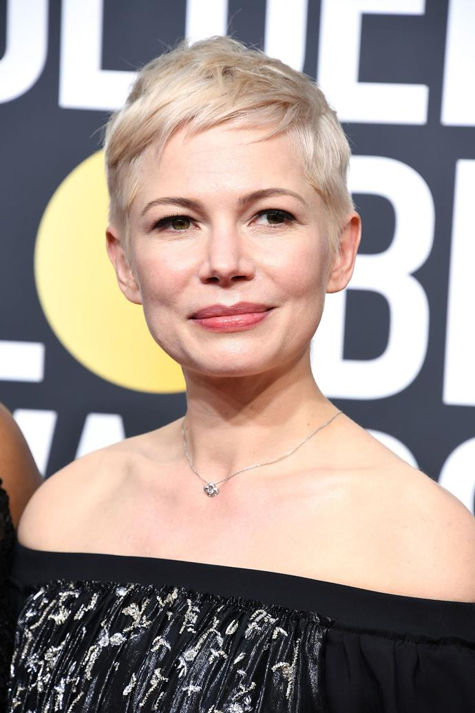 **Michelle Williams** <br><br> Williams' peroxide pixie has had us wanting to chop off all our hair on more than one occassion. The actress paired her cute 'do with a rose-coloured lip tint and heavy winged eye.