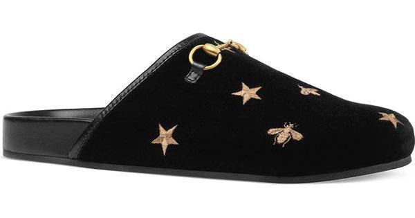 "Mules, $917, Gucci at [Nordstrom](https://shop.nordstrom.com/s/gucci-new-river-embroidered-mule-women/4779905?cm_mmc=Linkshare-_-datafeed-_-Women:Shoes:Mule-_-5485216&siteId=25ZRSXYPVYg-SZgSXRq2ekpMh0vwRmhpZA|target=""_blank""|rel=""nofollow"")"