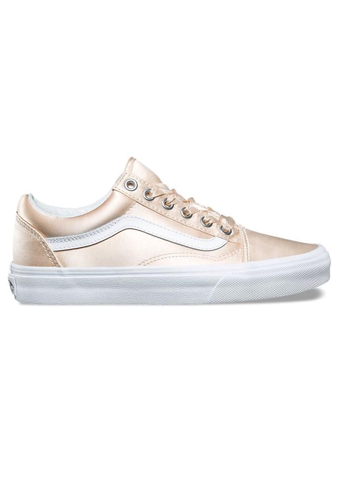 "Sneakers, $80 (approx) at [Vans](https://www.vans.com/shop/womens-shoes-classics/satin-lux-old-skool-blush-true-white?cm_mmc=LinkShare-_-Affiliate-_-TnL5HPStwNw-_-321433&utm_source=linkshare&utm_medium=affiliate&utm_campaign=TnL5HPStwNw&ranMID=24747&ranEAID=TnL5HPStwNw&ranLinkID=10-1&ranSiteID=TnL5HPStwNw-snsRFpoXA9e4RuEP6a1FwQ&cm_mmc=LinkShare-_-Affiliate-_-25ZRSXYPVYg-_-321433&utm_source=linkshare&utm_medium=affiliate&utm_campaign=25ZRSXYPVYg&ranMID=24747&ranEAID=25ZRSXYPVYg&ranLinkID=10-1&ranSiteID=25ZRSXYPVYg-_nULUy.L.lBP2waWT.sJMA|target=""_blank"")"