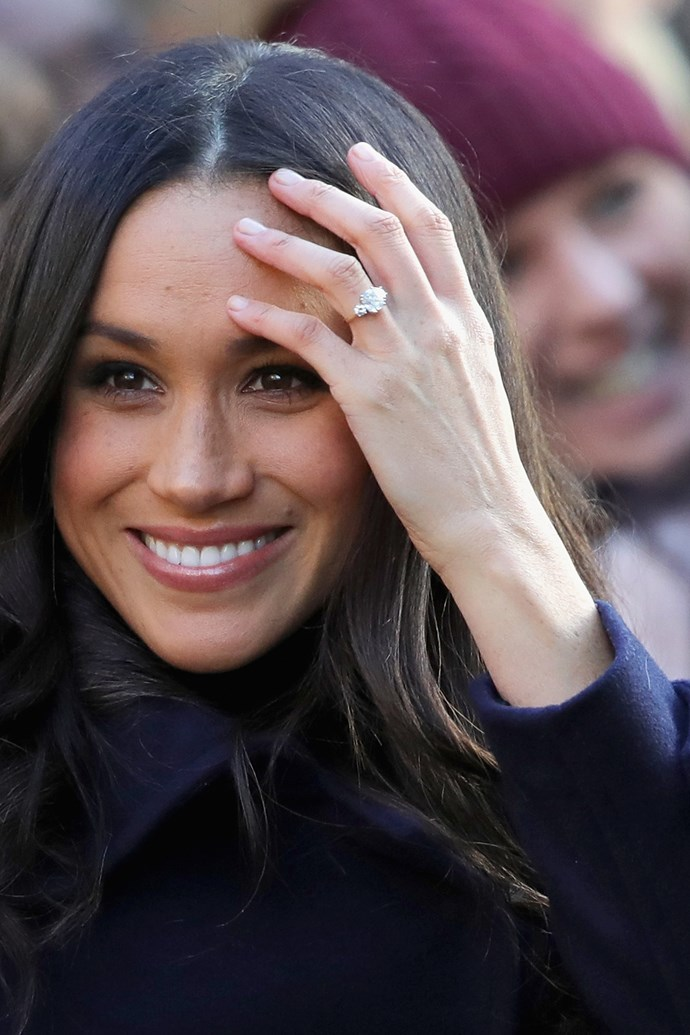 **Three Stone Rings:** <br><br> These are a classic style which will never go out of fashion. They have been around for a number of decades, but their popularity has recently increased exponentially due to some recent high profile engagements such as Meghan Markle. <br><br> Markle's gorgeous and chic three stone engagement ring has a cushion shape center diamond, and side diamonds from the late Princess Diana—the ultimate family heirloom. Three stone rings are an amazing option because their design possibilities are endless—diamond shapes and colours can be any combination you like, making this a true classic option. <br><br> *As seen on Meghan Markle.*