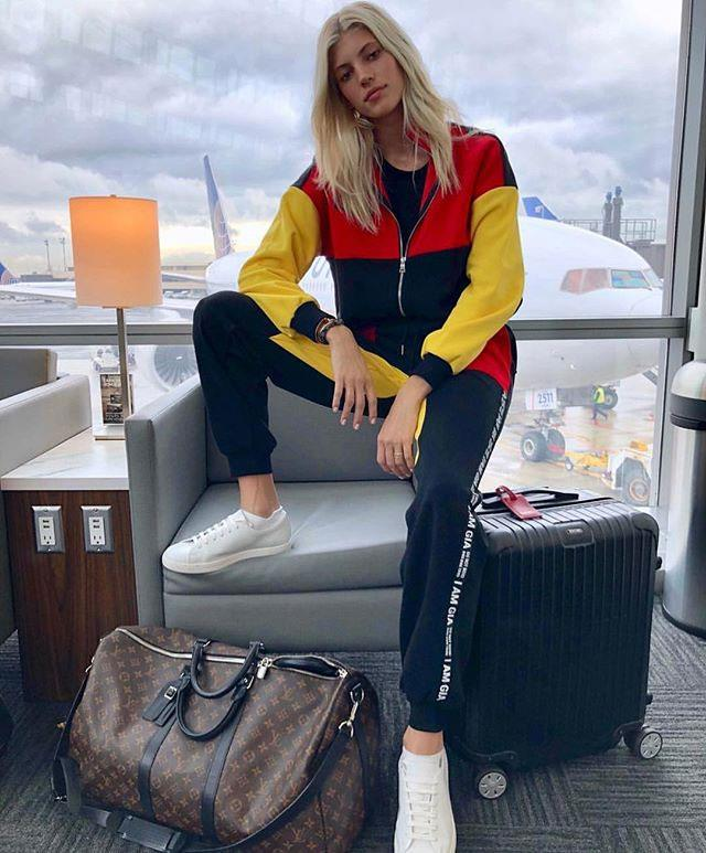 "**Devon Windsor*   Wearing [Blaster Jacket](https://iamgia.com/collections/jackets-coats/products/blaster-jacket|target=""_blank""), $150, and [Blaster Pant](https://iamgia.com/collections/pants/products/blaster-pant-black