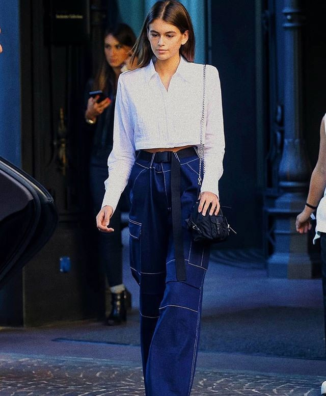 "**Kaia Gerber**   Wearing [Ace Pants](https://iamgia.com/collections/pants/products/ace-pant|target=""_blank""), $130 at I.AM.GIA."