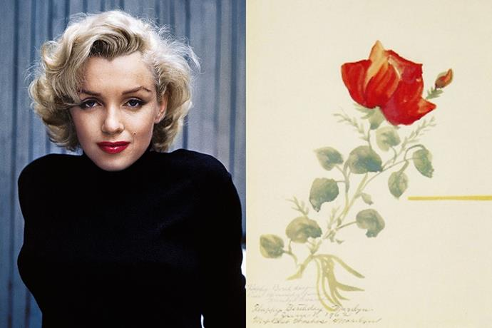 **Marilyn Munroe** <br><br> Marilyn Monroe created this painting of a rose for President John F. Kennedy's birthday in 1962, however, never delivered it to him. The icon kept the painting herself, until it was sold in 2008 at auction for nearly $100,000.