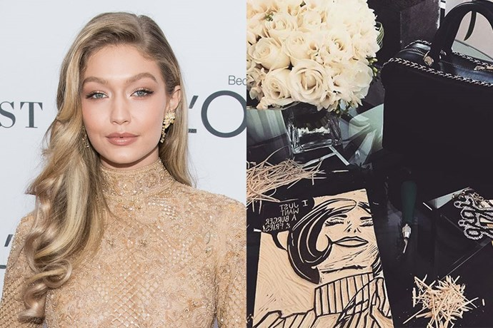 """**Gigi Hadid** <br><br> Gigi Hadid isn't only a supermodel—the 22 year old is also talented at art. In an interview with [*Vanity Fair*](https://www.vanityfair.com/style/2016/05/gigi-hadid-cooking-art-surfing-modeling-interview