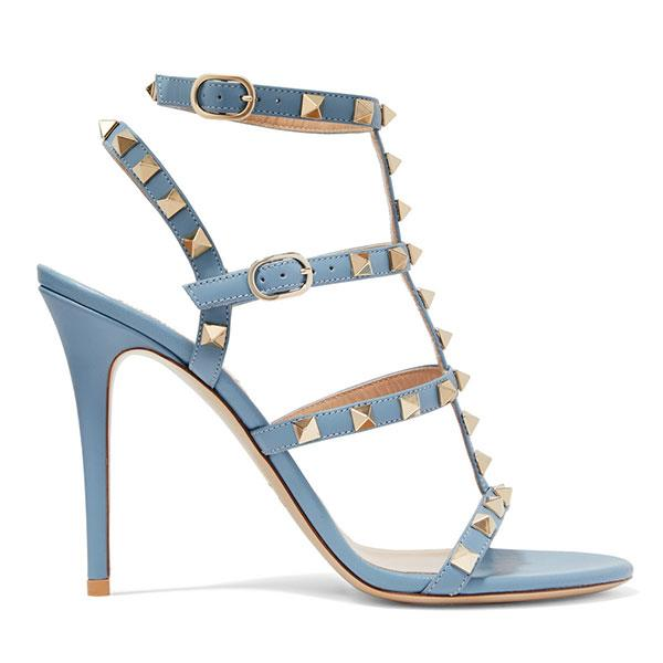 """Bridal Shoes, $1,400, Valentino at [Net-A-Porter](https://www.net-a-porter.com/au/en/product/956577/valentino/the-rockstud-leather-sandals  target=""""_blank"""")."""
