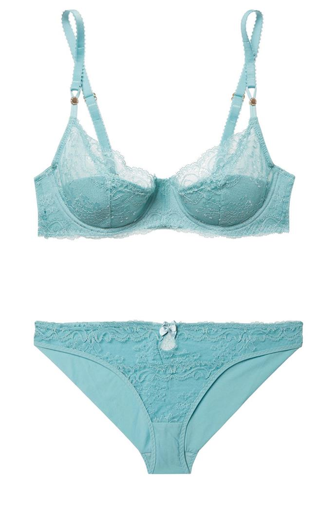 """Lingerie, $248, Stella McCartney at [Net-A-Porter](https://www.net-a-porter.com/au/en/product/903424/stella_mccartney/poppy-playing-stretch-leavers-lace-underwired-balconette-bra target=""""_blank"""")."""