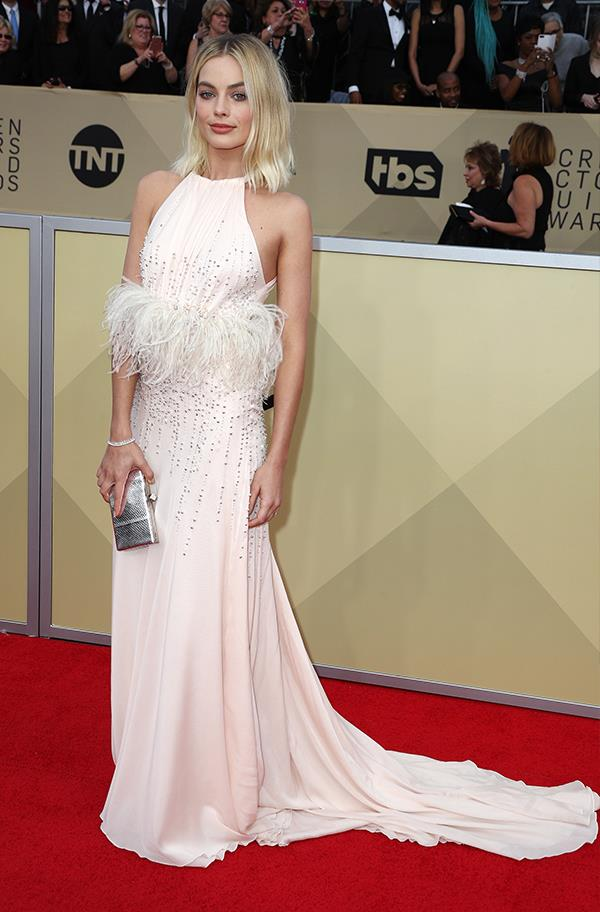 Margot Robbie in Miu Miu at the 2018 SAG Awards.