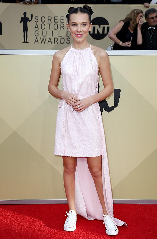 Millie Bobby Brown in Calvin Klein 205W39NYC at the 2018 SAG Awards.