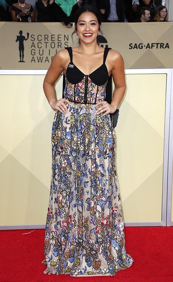 Gina Rodriguez at the 2018 SAG Awards.