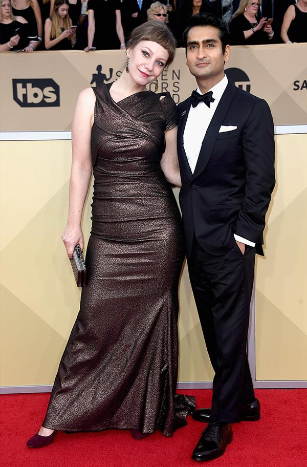 Emily V. Gordon and Kumail Nanjiani at the 2018 SAG Awards.