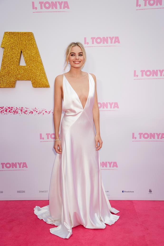 Wearing a white silk Michael Lo Sordo dress for the Sydney premiere of *I, Tonya*.