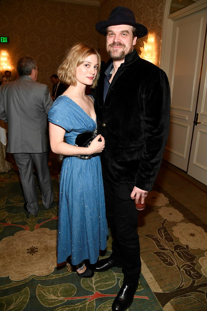 **Ex-Girlfriend: Alison Sudol** <br><br> David Harbour went public with his girlfriend Alison Sudol during the 2019 awards season, even giving her a kiss on the cheek before accepting his Critics' Choice award for Best Supporting Actor in *Stranger Things*.  <br><br> You may recognise Sudol from her role as Queenie in *Fantastic Beasts And Where To Find Them* (AKA the female lead's sister), but she actually started her career out as a singer. Sudol's performed under the name *A Fine Frenzy*, and looked vastly different—sporting bright orange hair.